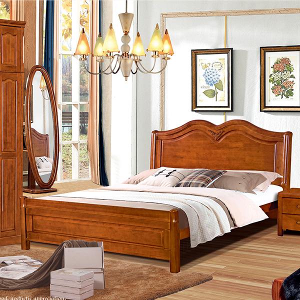实木床四门带四门顶衣柜