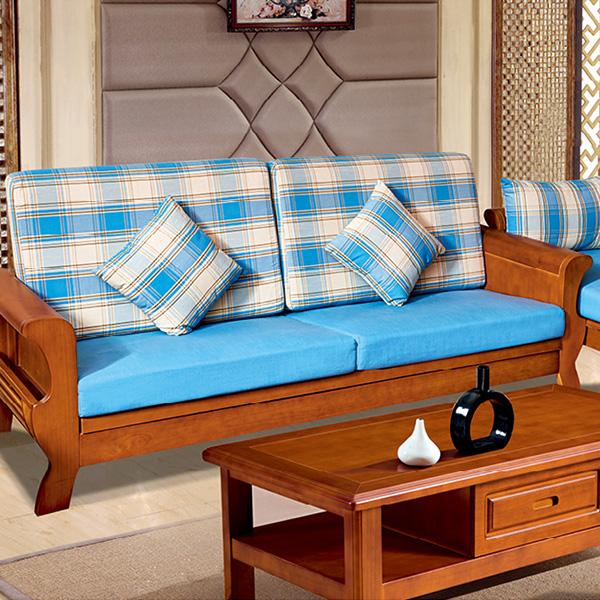 实木蓝色沙发单抽茶几