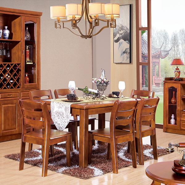 实木大圆边餐桌