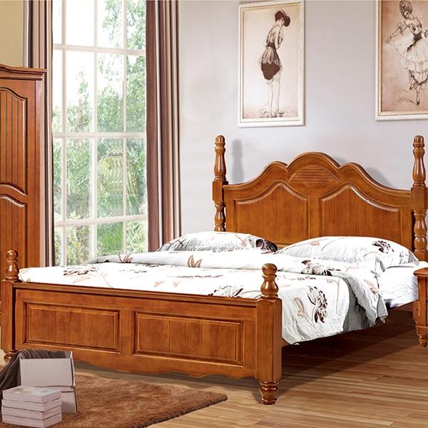 实木床圆柱五门带五门顶衣柜