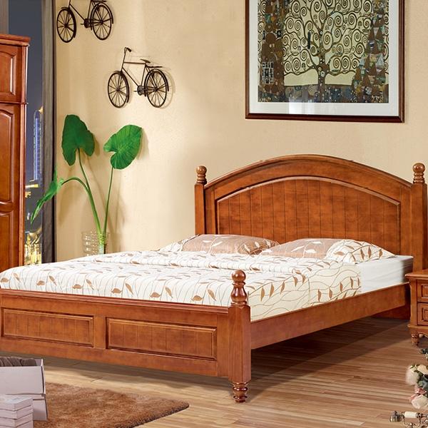 实木床圆柱四门带四门顶衣柜
