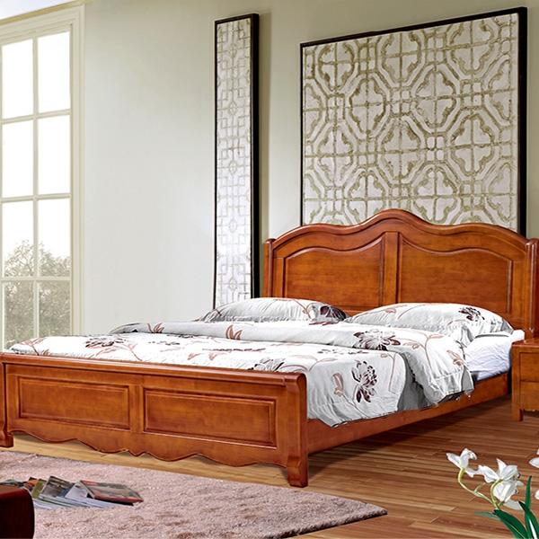 实木床两阀门带四门顶衣柜