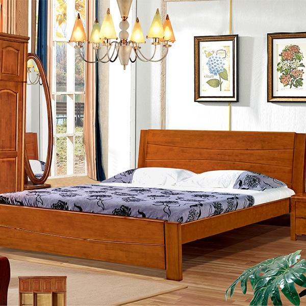 实木床圆柱两开两阀门带四门顶衣柜