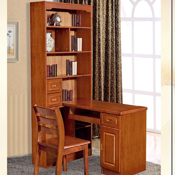 转角电脑桌带书架